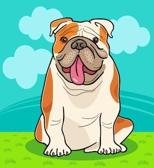 英語のブルドッグ犬の漫画のイラスト