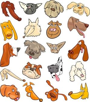 漫画の面白い犬の頭が大きなセット