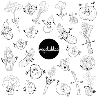 Мультфильм овощей символов набор цветной книги