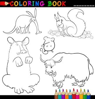 ぬりえの本やページの動物
