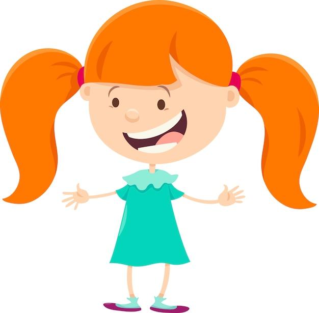 ピグテールの漫画のキャラクターを持つ少女