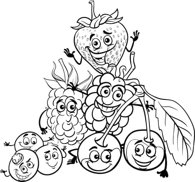Ягодный фруктовый мультфильм для раскраски