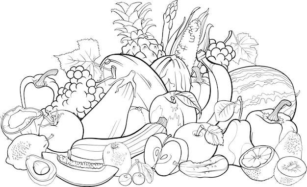 Фрукты и овощи для раскраски