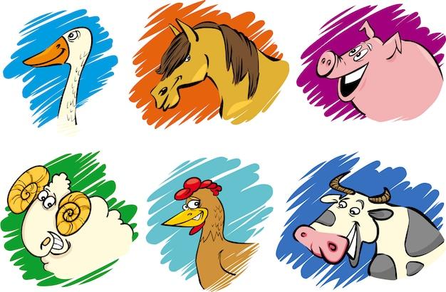 Набор мультяшных сельскохозяйственных животных