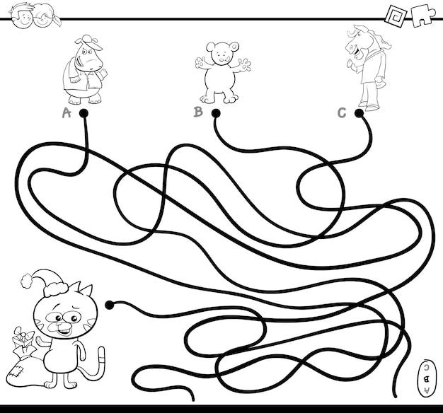 パス迷路ゲームの着色ページ