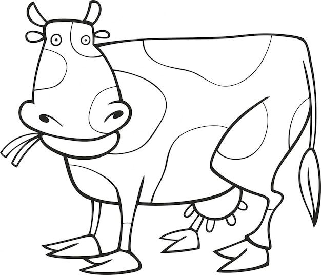 Забавная корова для раскраски