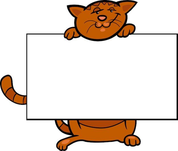 ボードまたはカード付きの漫画の猫