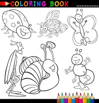 ぬりえの本やページの昆虫やバグ