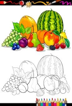 色鉛筆のための果物グループのイラスト