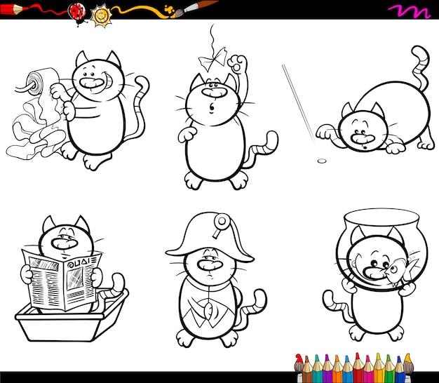 猫のキャラクターのページを着色