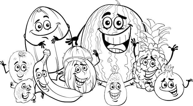 熱帯果物の漫画の本を着色する