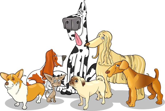 純血種の犬グループ漫画のイラスト