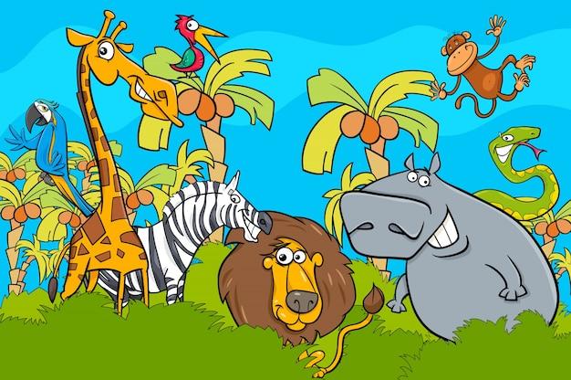 漫画のサファリ野生動物の文字グループ