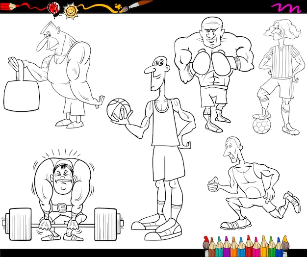 スポーツマン漫画の着色ページ
