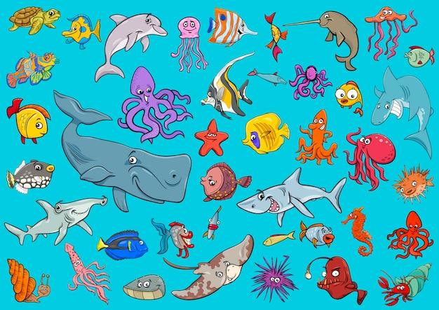 Морской мультфильм животных животных
