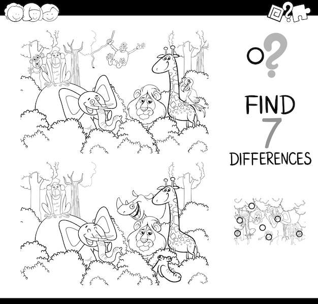 動物の本を色付けすることとの違いを見つける