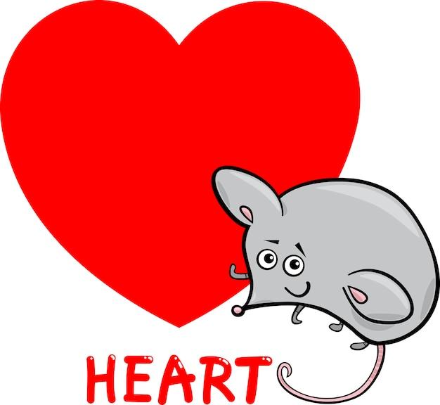 Форма сердца с мультяшной мышью