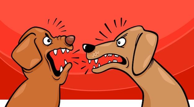 怒っている吠え犬の漫画のイラスト