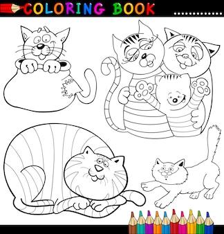 ぬりえの本やページのための漫画の猫