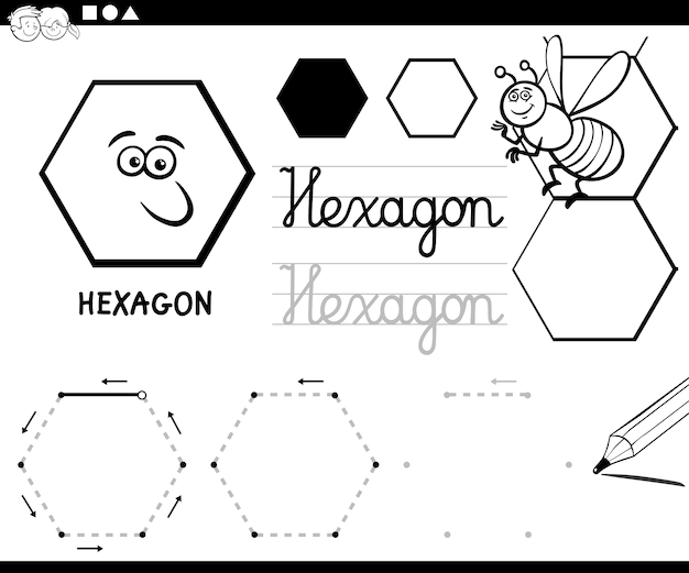 六角形の基本的な幾何学的形状のページを着色