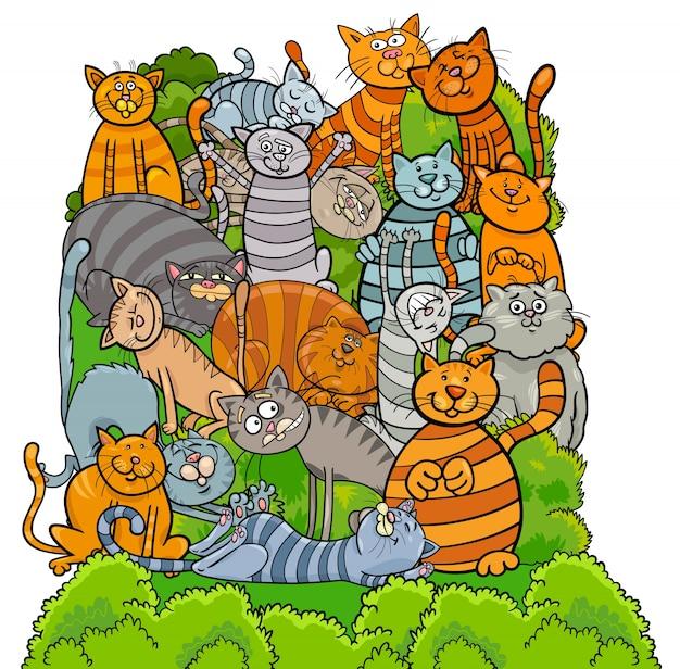 猫のキャラクターグループ漫画のイラスト