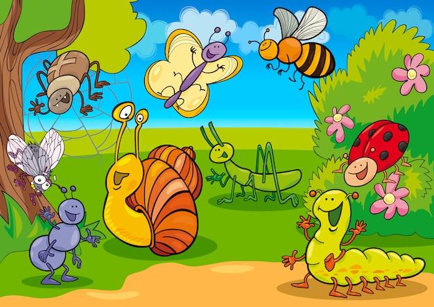 Мультяшные насекомые на лугу