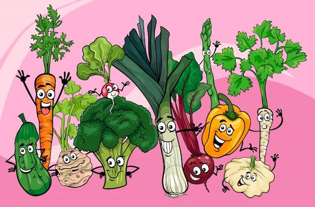 Иллюстрация мультфильма группы овощей