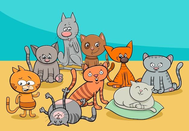 おかしい猫グループ漫画のイラスト