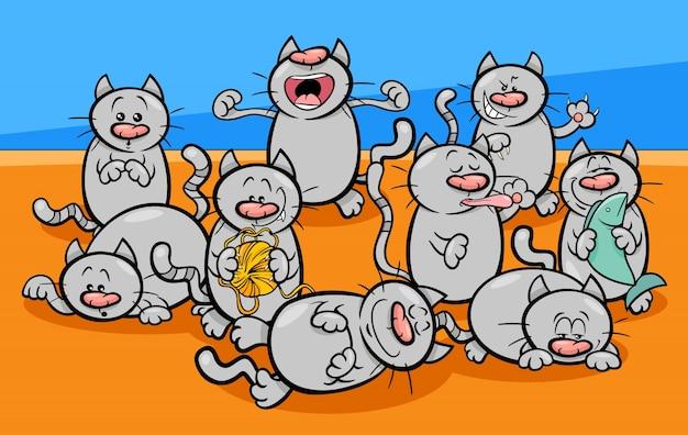 面白い猫のキャラクター漫画のイラスト