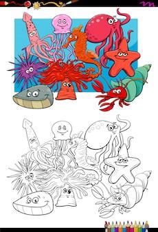 Морская жизнь животное персонажи раскраска