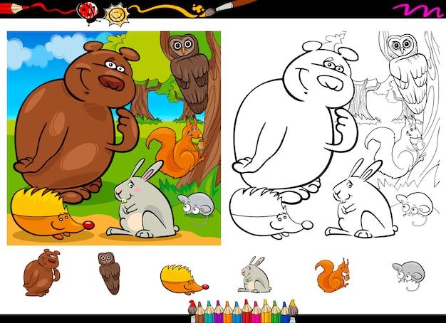 野生動物の色付けページセット