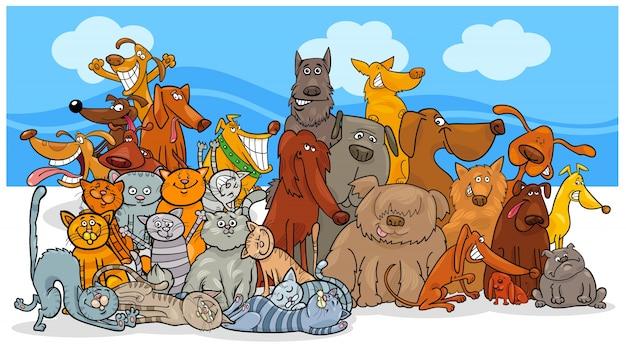漫画の犬と猫の文字グループ