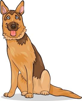 Иллюстрация мультяшной собаки немецкой овчарки