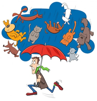 雨が降っている猫と犬の漫画のイラスト