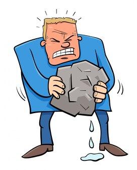 石のユーモア漫画から水を絞ると言って