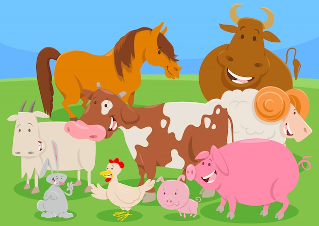 かわいい家畜キャラクターグループ