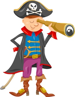 Забавная иллюстрация мультфильма пирата