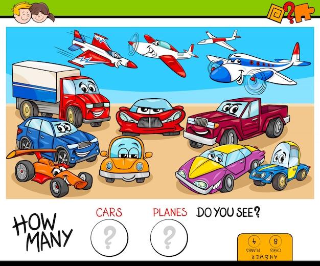 Мультяшная иллюстрация образовательной подсчётной игры для детей с автомобилями и группой самолетов
