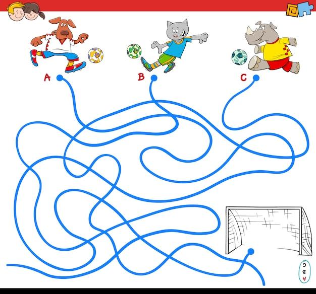 サッカー動物とパスまたは迷路パズルのアクティビティゲームの漫画のイラスト