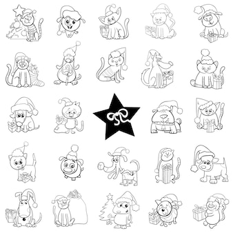 Набор черно-белых рождественских мультфильмов