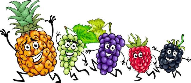 Бегущие фрукты мультфильм иллюстрации