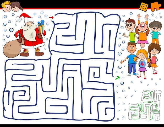 Мультфильм лабиринт игра с санта-клаусом