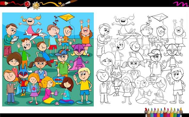 遊び心のある子供たちのキャラクターの塗り絵