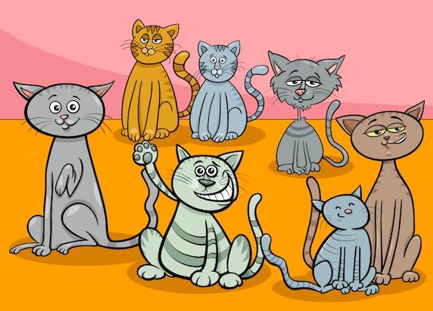 猫グループの漫画イラスト