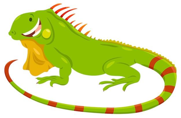 Иллюстрация шаржа зеленой игуаны животного