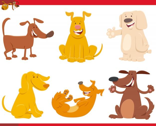 かわいい犬や子犬のセットの漫画イラスト