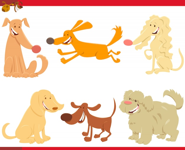 犬キャラクターセットの漫画イラスト