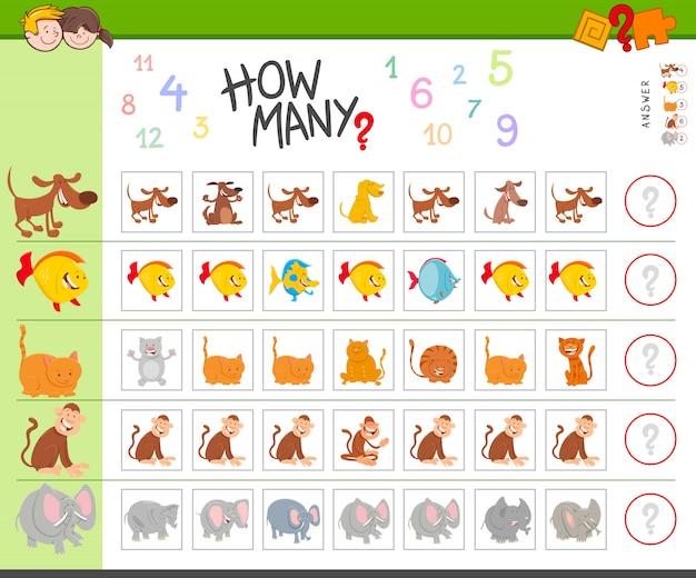 動物と子供のための教育カウントゲーム
