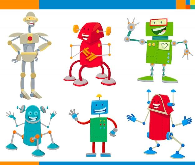 ロボットキャラクターセットの漫画イラスト