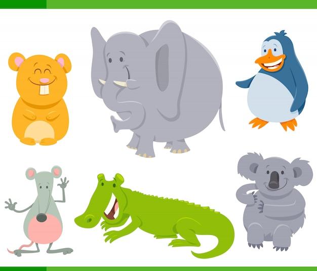 幸せな動物キャラクターセットの漫画イラスト